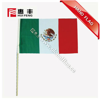 wholesale hand waving flag with wooden stick for world cup
