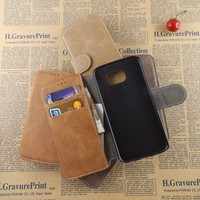 Crazy horse leather wallet protective phone cover for samsung s6 edge PC back case for samsung s6 edge s6 s5 s4 s3 wholesale
