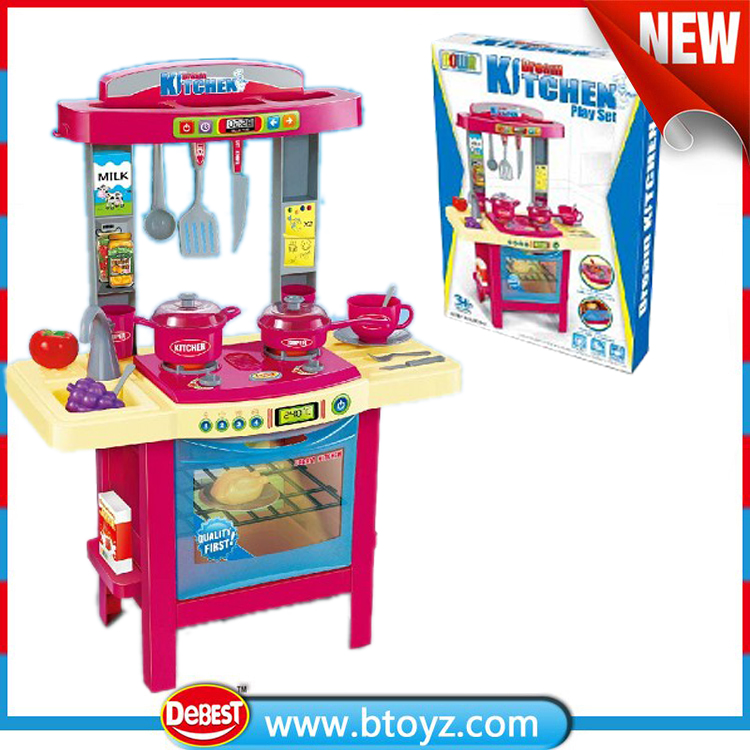 High quality electric toys cooking toy kitchen play set with light and sound for children
