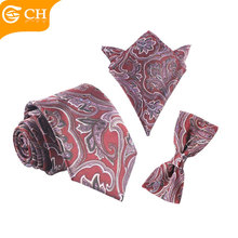 Yam Dyed Silk Necktie Bow Tie and Pocket Square for Suit Men