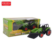 Zhorya children's green small diecast pull back farm toy tractor with black wheels