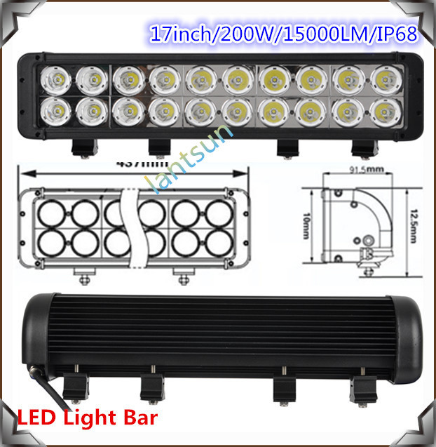 "Cheap and good 17"" double row light bar 200w 9000lm led off road parts"