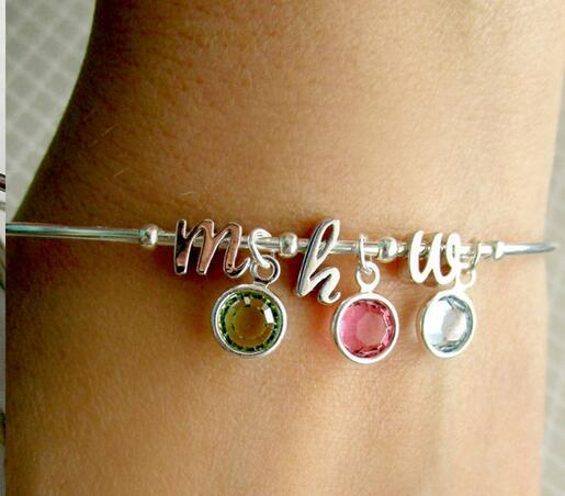 2017 Fashion Jewelry Personalized Initial Birthstone Bracelet Charms Stones Mother's Day Gift Stainless Steel