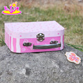 2017 new design lovely pink kids wooden toy box W08C171
