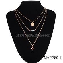 Ebay sales 18k gold plated simple three multilayer necklace coin bead cross designs for women