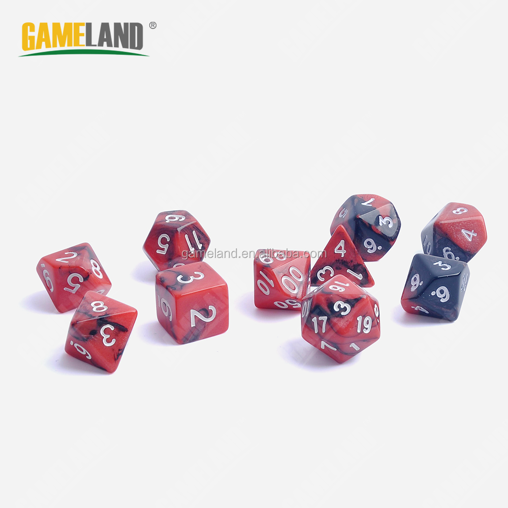 Mixed Color Multi-sides Polyhedral Custom Printed Plastic Dices