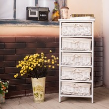 factory direct sales paulownia wood wicker drawer antique white chest