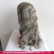 Long body wave 100% virgin human hair thick full ends natural looking mixed grey wig