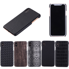 Fashion Hard Case for iphone X,Snake Crocodile Rhombic Carbon Fiber Pattern Leather cover PC back case for iphone X
