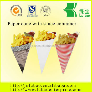 chips or fries paper cone bag with sauce container and holder