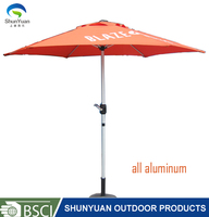 2.7M 9''ft all aluminum outdoor furniture auto-tilt market Outdoor cafe hotel sun Umbrella Advertising pringting LOGO