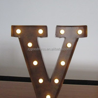 Vintage Metal Lighted Marquee Letters V