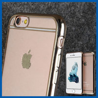 C&T Soft Transparent Clear back panel Electroplate Plating TPU bumper Case for iPhone 6s