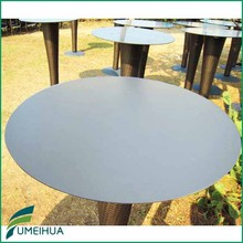 Outdoor garden grey round hpl compact laminate table top