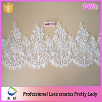 2016 Wholesale Fashion Embroidery Bridal Silver Beaded Lace Trim