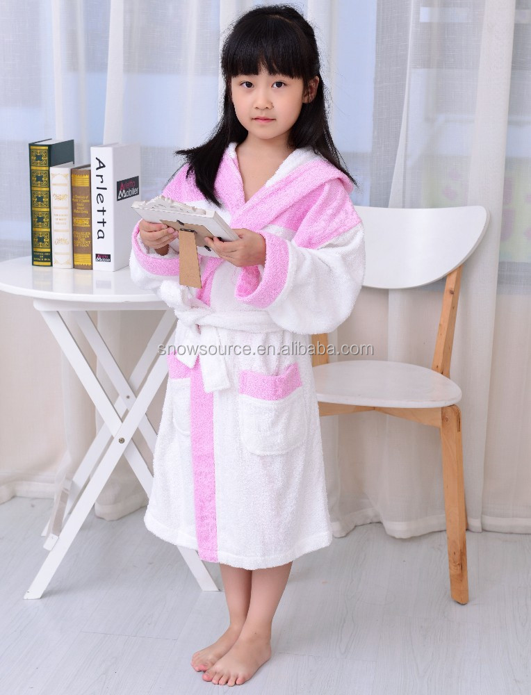 Promotional 100% cotton terry nude sleepwear white and pink girls bathrobes