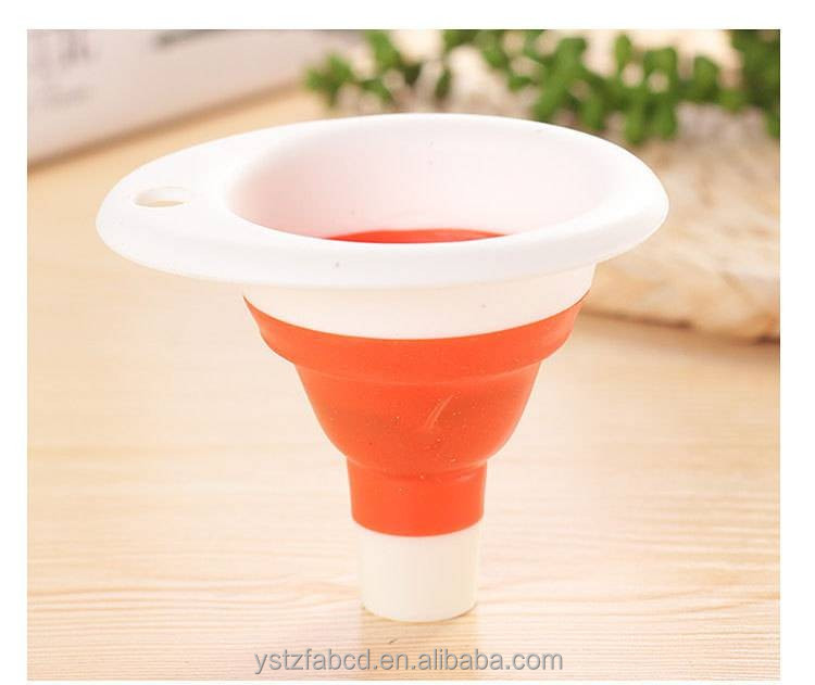 cheap silicone collapsible hopper/funnel for kitchen accessories