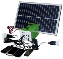 hot price 12V 3A 10W mini portable solar panel for mobile with 2led bulbs camping use