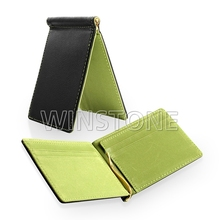 Colorful Leather Credit Card Holder Money Clip with Three Card Slots on Each Side