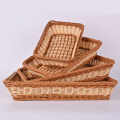 Widely used cheap poly rattan display rattan food tray and basket