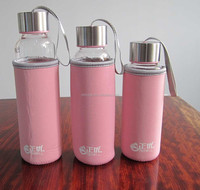 Glass Water Bottle/travel Cup with Stainless Steel Leak-Proof lids,Portable water glass bottle