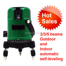 Auto cross 5 line green self-leveling rotary laser level with tripod