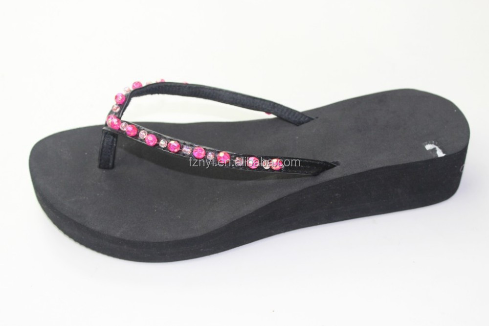 beaded decorated with pu strap slippers high heel fashion eva sandals
