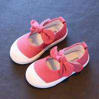 Size 21-30 Hot Pink Children Girls Shoes Cute Bowknot Princess Child Shoes 2017 Candy Color Kids Wholesale Canvas Shoes