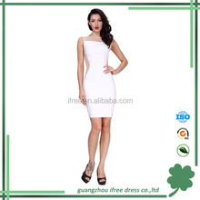 Unique design women white bandage lace dress formal dress for dinner