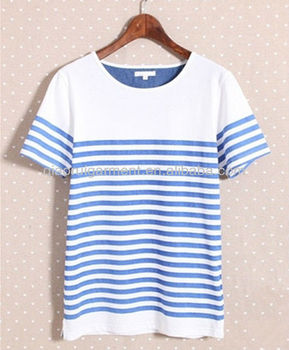 mens short sleeve light weight breathable striped T-shirt with contrast collar and pattern
