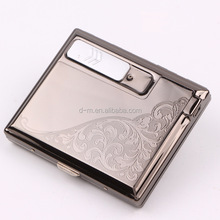 windproof metal recharge cigarette case with usb lighter