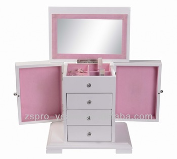 Brand-New Wooden Cosmetic Case with Mirror and Drawer