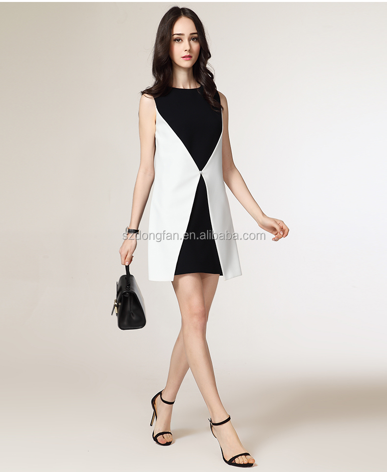 2016 Elegant White And Black Dress Lady Wear Suppliers New Fashion Dress For Women