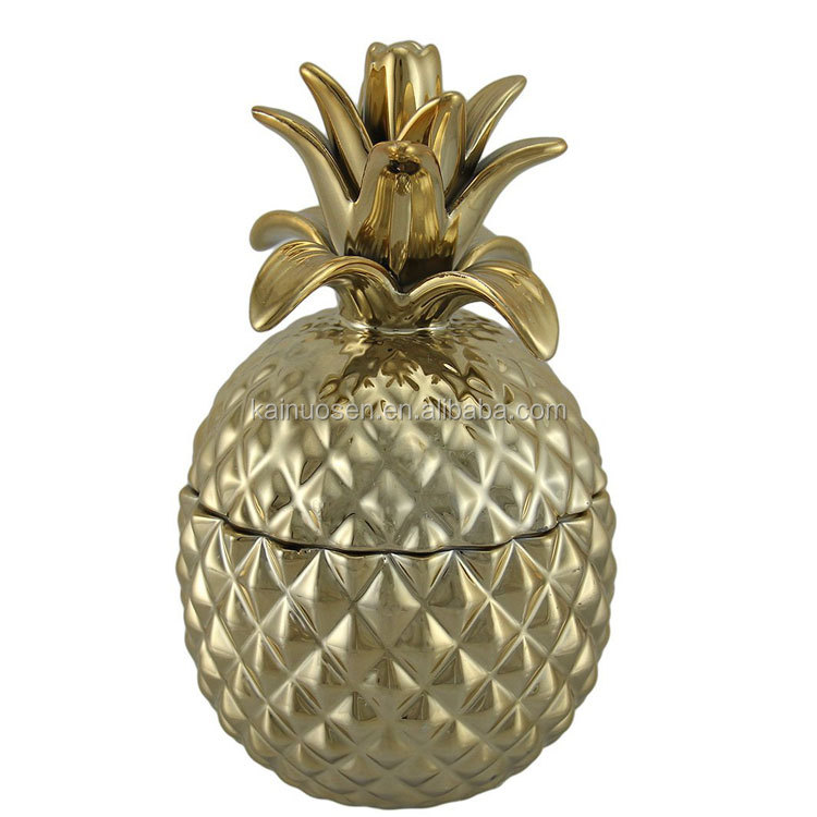 Gold Chrome Finish Lidded Ceramic Pineapple Jar 8 Inch