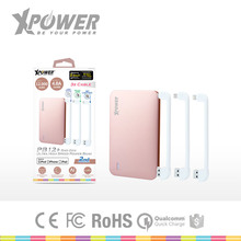 Laser Logo Christmas CE Approved USB 3.4A output 12000mah Ultra-thin Rose christmas gift Built-in Cable power bank for Phone