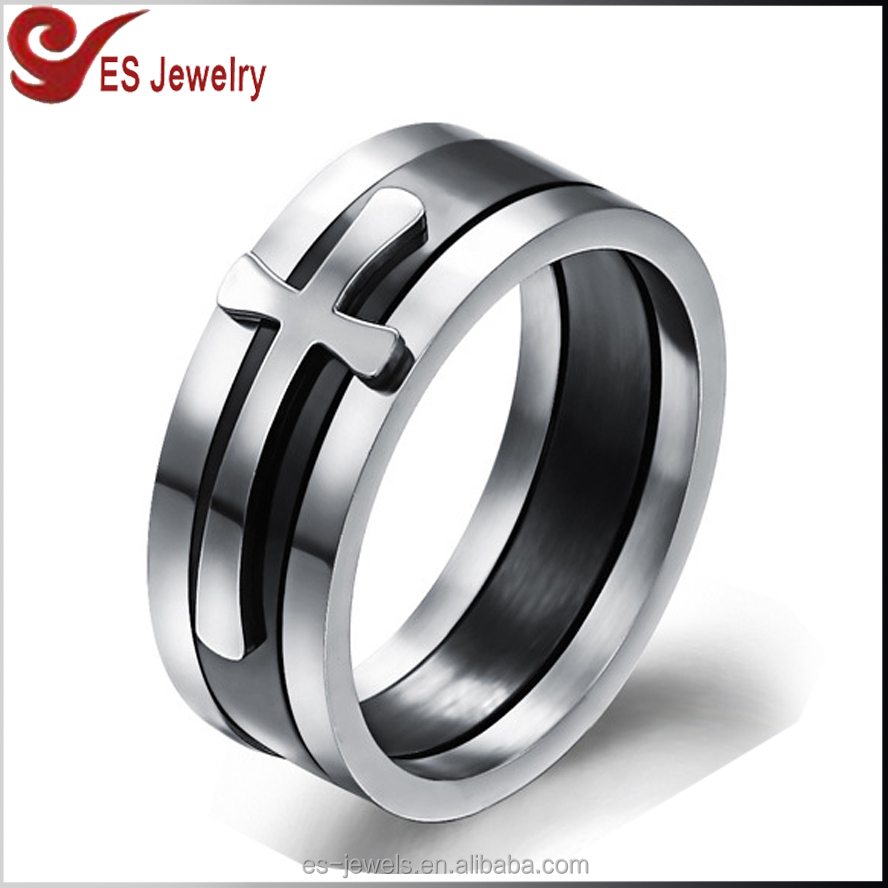 3in1 Stackable Design Jesus Cross Finger Ring for Christian High Polish Stainless Steel Ring Silver & Black Color