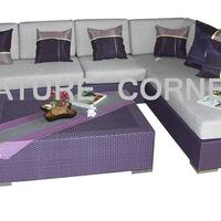 Wicker Rattan Outdoor Corner Sofa Set