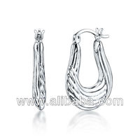 "925 Sterling Silver ""Shrimp"" Hoop Earrings"