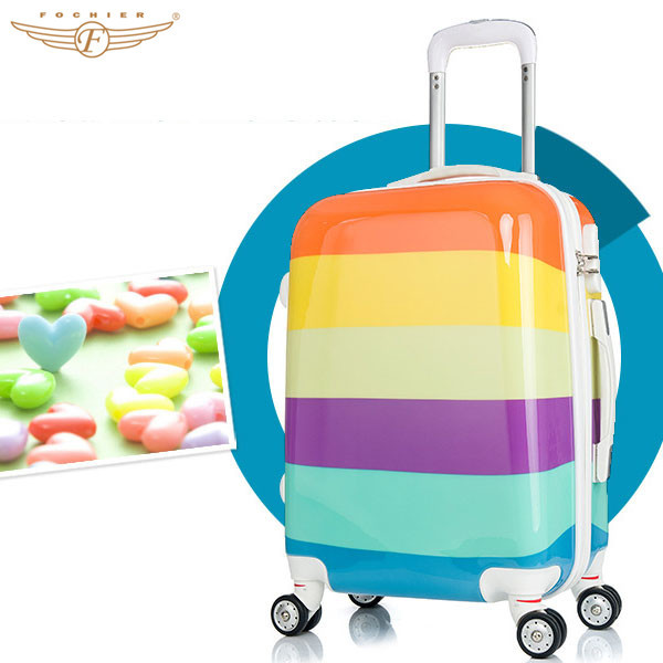 2015 unique colorful print carry on luggage