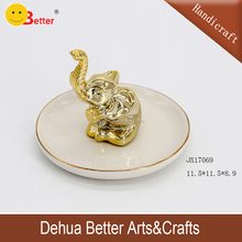 Golden Elephant Ceramic wedding Ring Holder