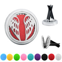 Angel Wing Car Air Freshener Aromatherapy Essential Oil Diffuser - 316L Stainless Steel Locket With Vent Clip