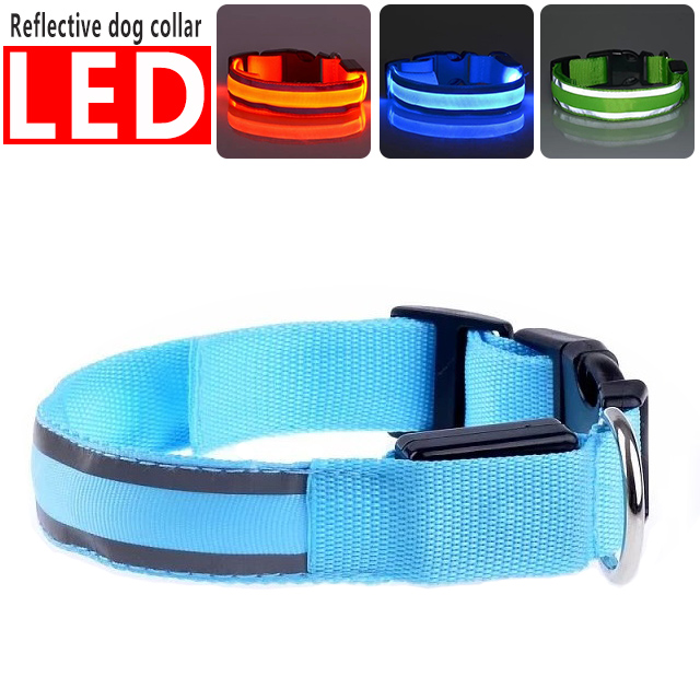 Pet Dog Safety Collar LED Light Up Flashing Glowing In The Dark Pet Dog Cat Collar Safety Necklace For Dogs