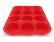Non - Stick Red 12 Cups Silicone Muffin Pan and Cupcake Pan Maker