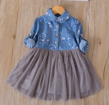 2018 Spring Sweet Children Girl Dress Long Sleeves Kids Boutique Frock Dresses Casual Jeans Dress