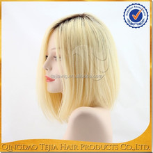 On sale dark roots blonde ombre color glueless lacefront human hair wigs