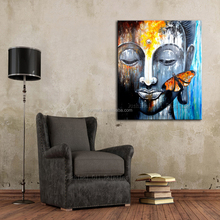 Professional Manufacturer Wholesale Abstract Handmade Buddha With Butterfly Oil Painting For Wall Decoration Buddha Pictures