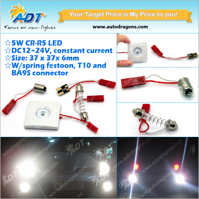 CR-R5 5W LED dome light panel lamp DC12V-24V with festoon T10 base for cars