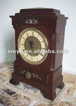Wooden square antique brass table clock