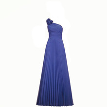 Royal Blue One Shoulder Long Bridesmaid Dresses Flower Pleats Brides Maid Dresses Elegant Wedding Party Gowns Dresses