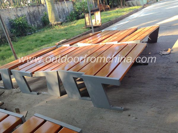 2015 weather resistant steel&/solid wood outdoor bench
